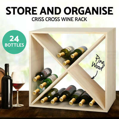 24 Bottle Timber Wine Rack Wooden Storage Cellar Vintry Organiser Stand