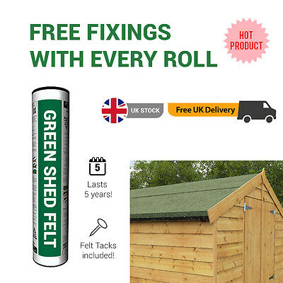 10m Premium Green Mineral Garden Shed Roofing Felt 10m x 1m Roll