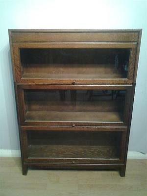 Globe Wernicke style  oak 3 section stacking library  bookcase