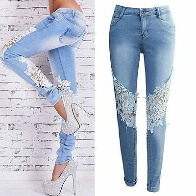 Women Slim Skinny Lace Crochet Stretch Denim Jeans Slim Pencil Pants Trousers