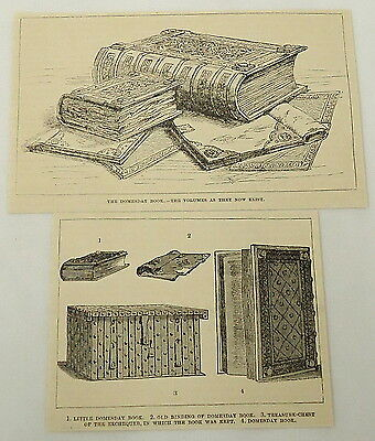 1887 two part magazine engraving ~ DOMESDAY BOOK ~ volumes as they now exist...