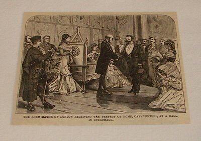 1876 magazine engraving ~ LORD MAYER + PREFECT OF ROME, London