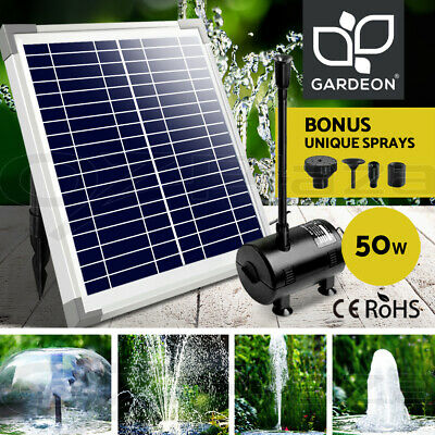 50W Solar Powered Fountain Outdoor Fountains Submersible Water Pump Pond Garden