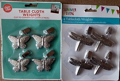 8 New Metal Table Cloth Weights 2 Designs 4 of Each
