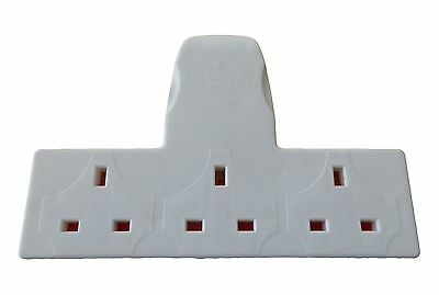 3 Way Gang Mains Adaptor Extension Block UK Plug Socket 13A