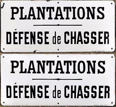 Old French no hunting steel enamel sign Wagner Choisy le Roi Paris - choice of 2
