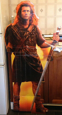 "Mel Gibson Braveheart Cut out standee cinema display approx 48"" tall RARE"