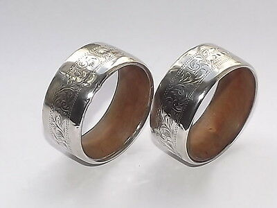 Rare Patent Antique Solid Silver Sterling & Wood Pair Of Napkin Rings B/ham 1906