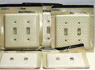 Lot of 5 Vtg Ivory Steel Double Wall Switch Plate Covers NIB