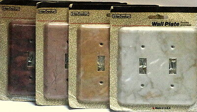 Lot of 4 Vtg Marble Plastic Double Wall Switch Plate Covers NIB