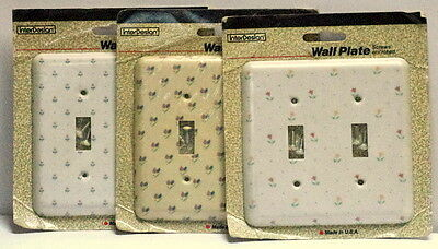 Lot of 3 Vtg Floral Plastic Double Wall Switch Plate Covers NIB