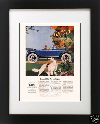 Antique 1920's Willys Knight Auto Car BORZOI Russian Wolfhound Dog Ad Art Print