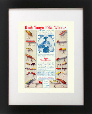 Antique Rush Tango FISHING LURE Contest Trout Bass LODGE Cabin Rustic ART PRINT