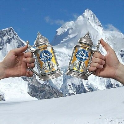 DAS CAN IN STEIN w FLIP LID TURNS CANS INTO MEDIEVAL DRINK WARE FATHER DAY GIFT