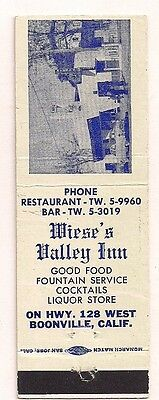 Wiese's Valley Inn Restaurant Bar Hwy 128 Boonville CA Mendocino Matchcover