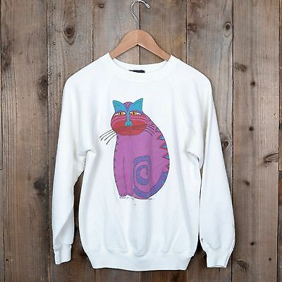 vintage 80s Laurel Burch cat painting crewneck raglan white small sweatshirt