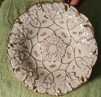"Meissen Ornate Gold Gilding Floral 11 1/8"" Shallow dish/ bowl crossed Swords"