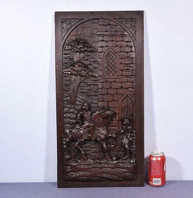 *Large French Antique Deeply Carved Panel with a Man on Horseback
