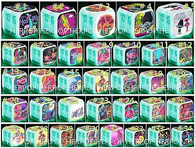 Lot 7Color LED Night Light Alarm Clock Trolls Movie Figures Watch Toy kids giftS