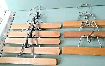 Vintage Wooden Pant Skirt Clamp Hangers Lot