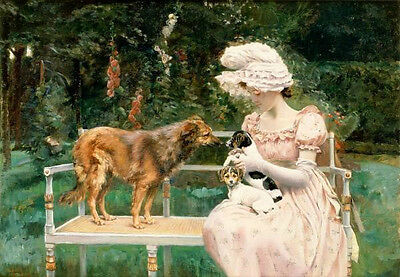 Beautiful oil painting nice young woman portrait with her pets dogs in landscape