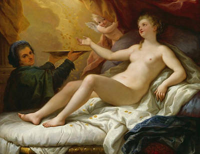 Huge oil painting portraits sexy Venus with angels cupid and fallen gold coins a