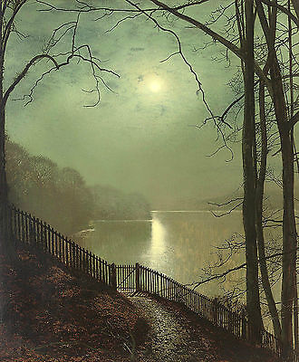 Large oil painting John Atkinson - Nice moon night landscape by the river canvas