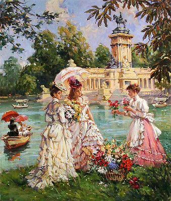 Nice Oil painting two nice noble women with flower seller by the river landscape