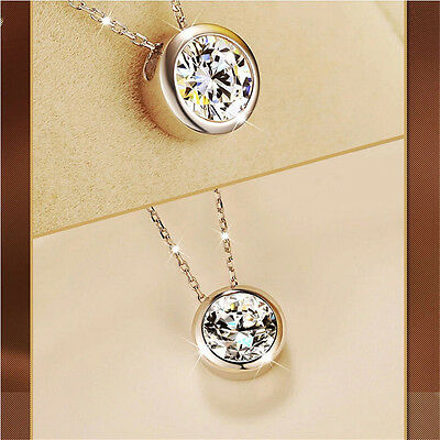 Fashion Women Round Single Crystal Rhinestone Silver Pendant Necklace Jewelry