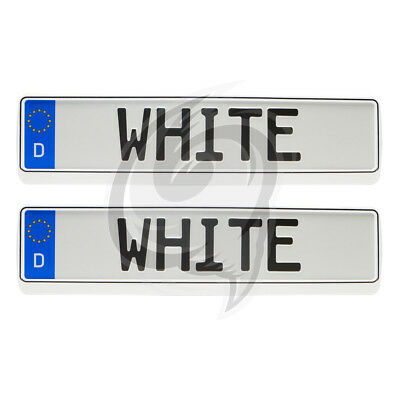 Vauxhall 2x Brilliant White Look License Plate Holder Number
