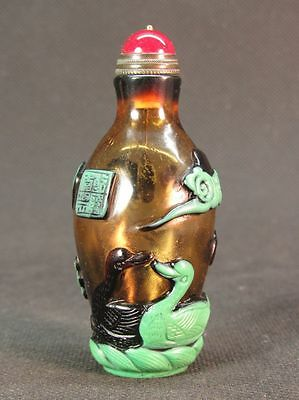 Chinese Duck Water Lily Carved Peking Overlay Glass Snuff Bottle