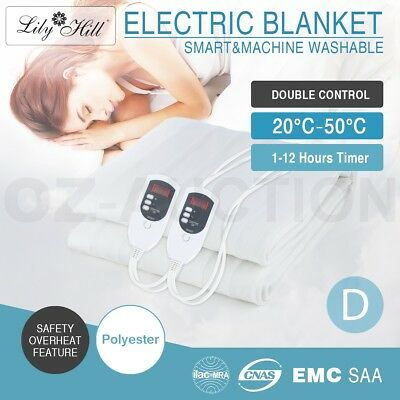 Double Size Electric Heated Blanket Smart Safety Fully Fitted Polyester Luxury