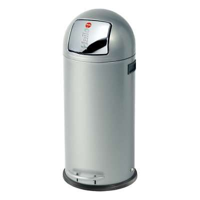 Hailo KickMaxx 50 Huge Capacity Waste Bin with Pedal Mechanism, Silver, 38 L