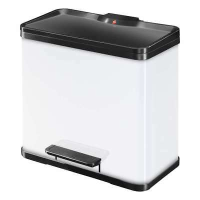 Hailo Öko Trio Plus 33 Pedal Bin, Waste Separation, Steel Sheet, White, 0633230