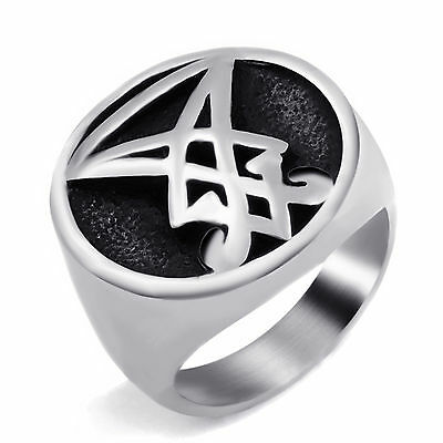 Mens Boys Sigil of Lucifer Seal of Satan Stainless Steel Biker Ring Size 8-13