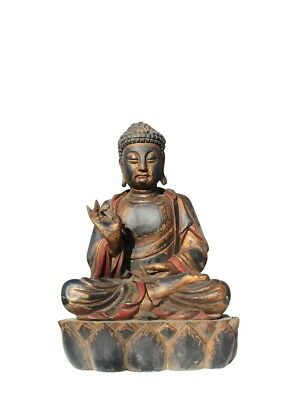 hotai buddha figur teak holz skulptur meisterwerk aus china asien budda eur 250 00. Black Bedroom Furniture Sets. Home Design Ideas