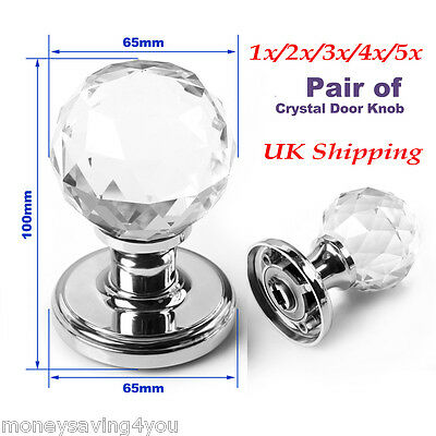 Large Crystal Glass Door Knobs Handle Internal Mortice Polished Chrome 65x100MM
