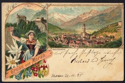 GRUSS AUS MERAN (Austria), 1895. Vintage Postcard. Free UK Post