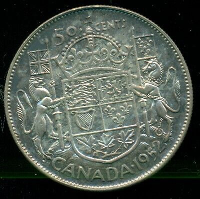 1952 Canada, King George VI, Silver Fifty Cent Piece