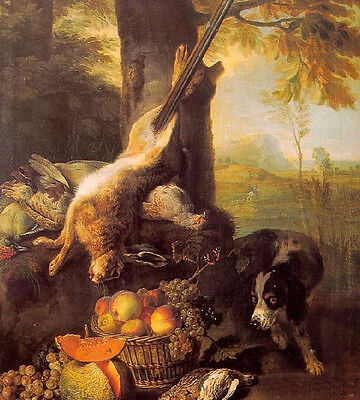 No framed Oil painting Still Life with Dead Hare and Fruit with dog in landscape