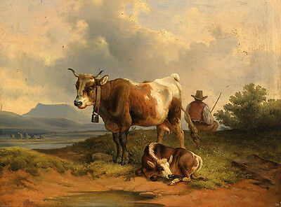"""Oil painting Rancher farmer with his cows cattles by the river free postage 36"""""""