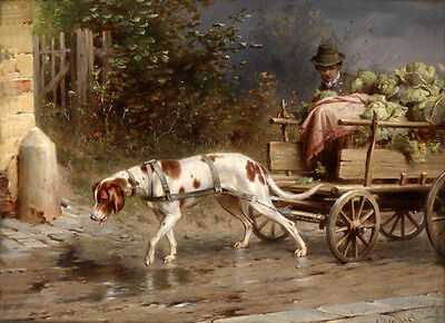Excellent oil painting animals The dog cart  - Male portrait with vegetables 36""