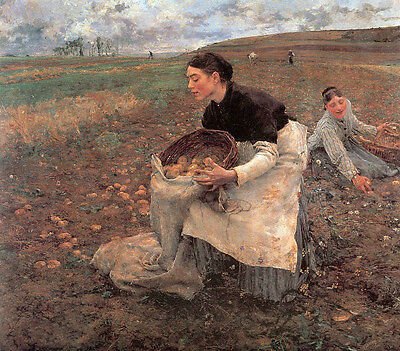 Oil painting Jules Bastien-Lepage French - October - Gathering Potatoes canvas