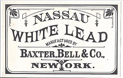 c1870s Paint Can Label, Nassau White Lead (Baxter, Bell & Co.)