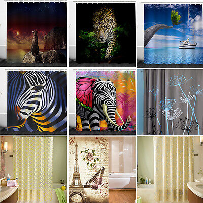 3D Animal Floral Waterproof Shower Curtain Bathroom Polyester Fabric +12pcs Hook