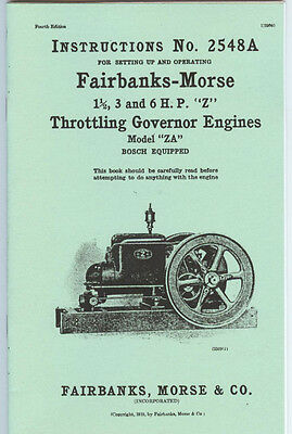 Fairbanks-Morse Z Style ZA  Engine Instruction Manual 1 1/2 to 6 HP 2548A