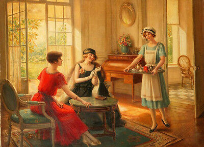 Art Oil painting Albert Lynch - Young women drinking afternoon tea handpainted