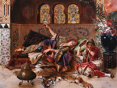 Huge Oil painting portraits nice young Arabian girls sleeping on Tiger skin 36""