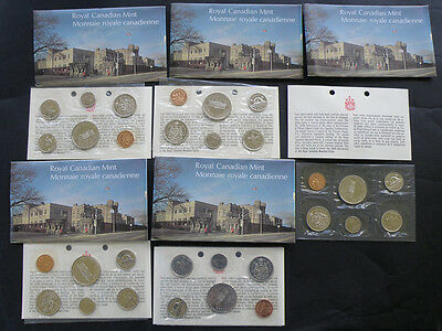 FIVE 1973 Canada Uncirculated Prooflike Coin Mint Sets