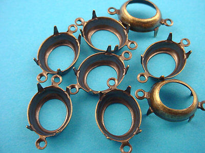 12 Brass Ox Oval Prong Settings 14x10 2 Rings open Backs  connectors
